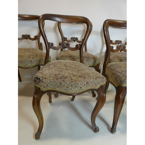 185 - A set of five Victorian rosewood dining chairs with cabriole legs...