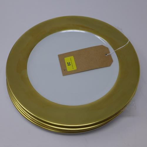20 - 4 Legle Limoges large porcelain dinner plates with wide 18ct yellow gold rims, dia: 29.5cm each...