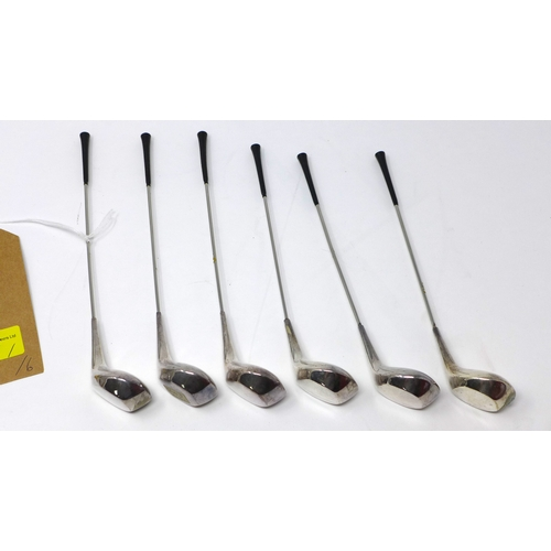 37 - A set of six Danish silver plated cocktail sticks in the form of golf clubs by Frigast...