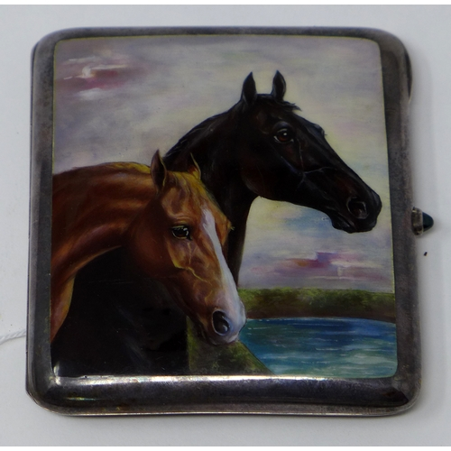 49 - An early 20th century Continental silver case, hand painted with horses, stamped 935, 9 x 8cm...