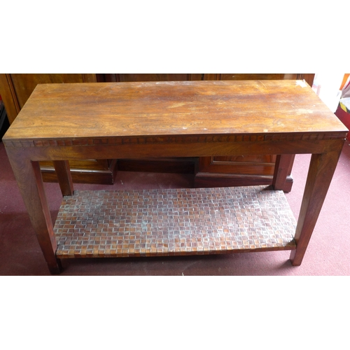 384 - A contemporary teak console table, H.76 W.120 D.46cm...