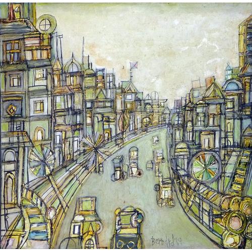 420 - A mid 20th century impasto painting, street scene, oil on board, signed Bernard 69, 52 x 52cm...