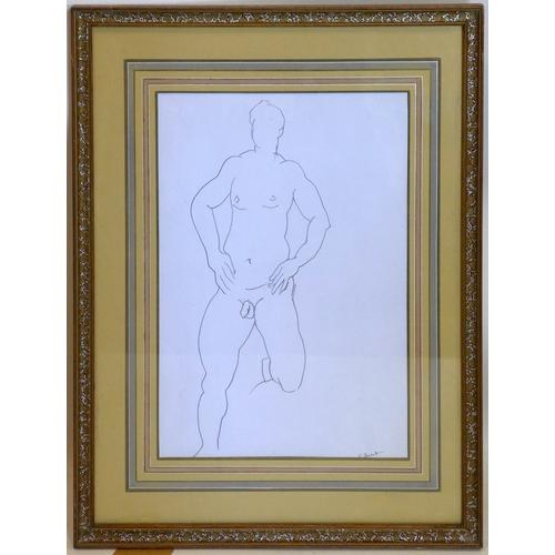 426 - Ronald O'Neal Best (British b.1957), pencil sketch of a male nude, 39 x 27cm...