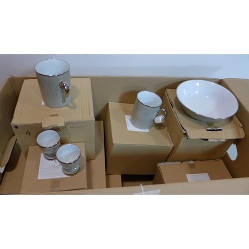 10 - Legle Limoges: pale grey porcelain and platinum collection: 8 mugs, 12 bowls, 4 eggcups, 1 large ser...