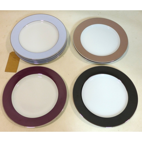 16 - Legle Limgoes: 6 large porcelain dinner plates in various shades with platinum rims, dia: 30cm each...