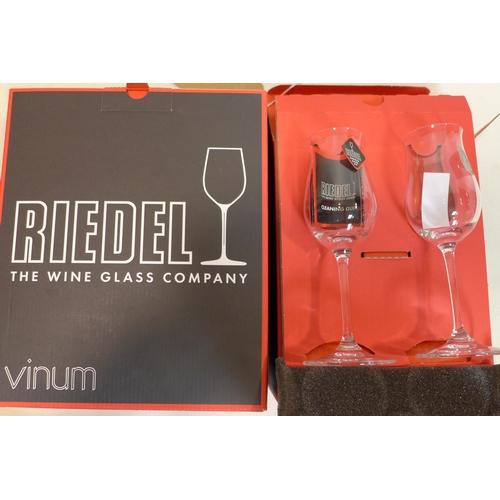 210 - 2 boxes of Riedel Austrain glassware: 1 box pair of cognac glasses, 1 box pair of Chardonnay glasses...