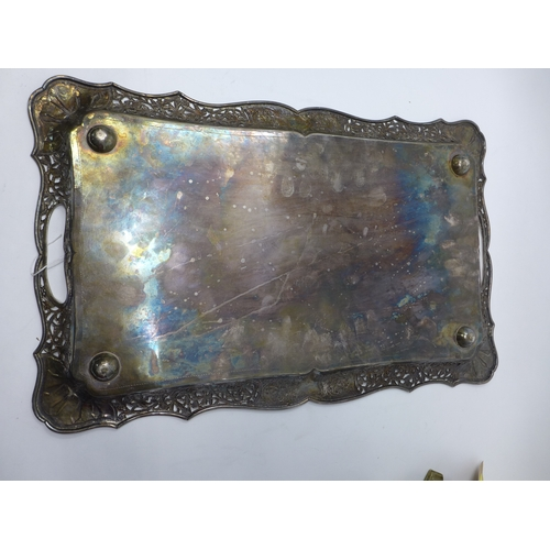 6 - A Continental white metal serving tray, stamped 'R.J. Co, T.G.97', 45oz, 51 x 32cm...