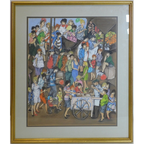 184 - Elizabeth Ryme, Figures in a market scene, pastel and pencil, signed and dated 1980 in pencil to low...