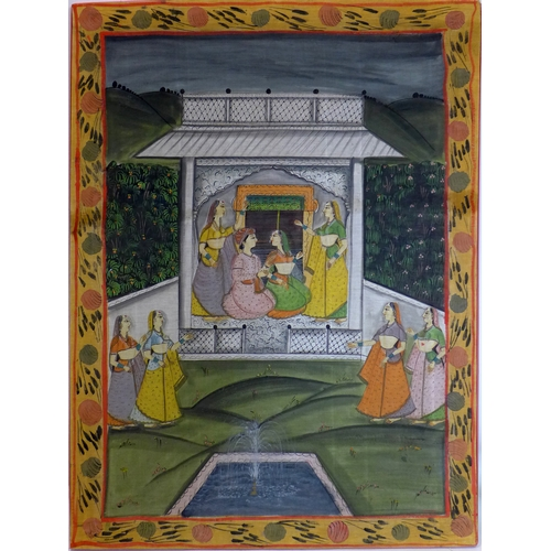 208 - An Indian painting on textile of ladies in a pagoda in a garden setting, within floral border, 111 x...