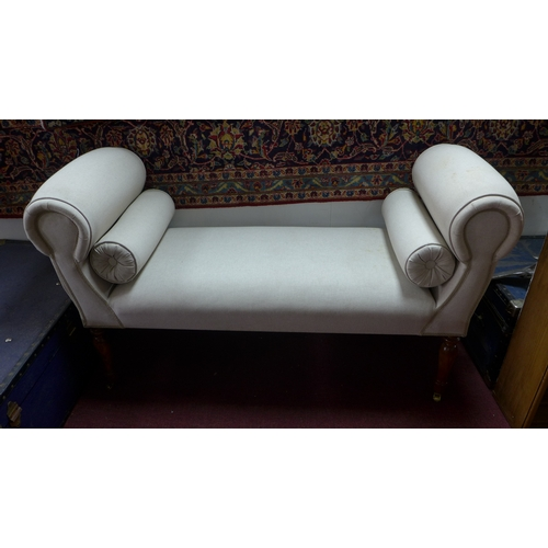 339 - A contemporary window seat, with cream linen upholstery (with some stains), two squab cushions, rais...