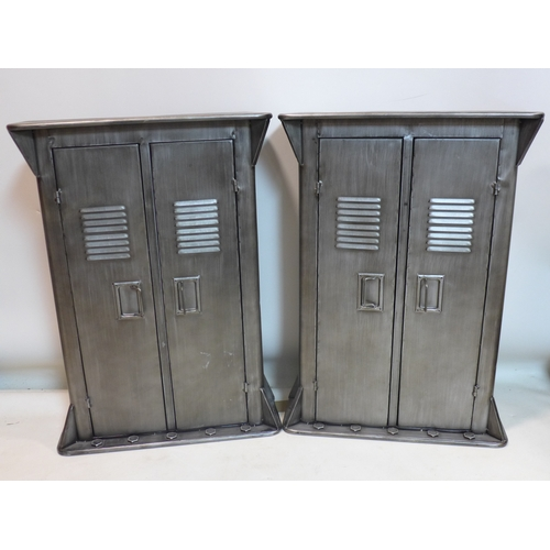 381 - A pair of Industrial style cupboards, H.77 W.55 D.20cm...