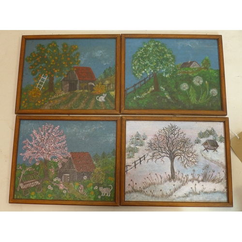 393 - Four oil on panels of 'The Four Seasons', 20 x 25cm (4)...