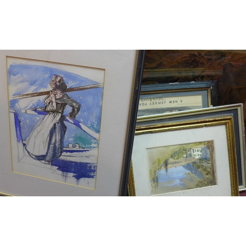 409 - A collection of seven paintings and prints, to include a Russian watercolour of an old lady by a shi...