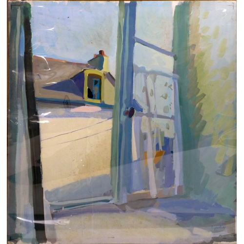 423 - Alexander Goudie (Scottish, 1933-2004), 'The Open Window', gouache on paper, signed lower right, 64 ...