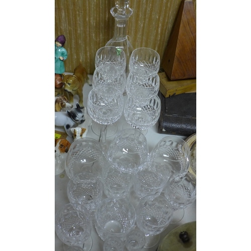 21 - A collection of Waterford crystal to include a decanter, 6 wine glasses and other drinking vessels, ...