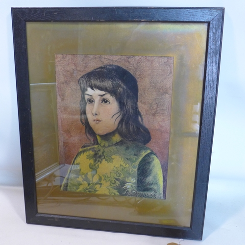 372 - A 20th century pastel head and shoulder portrait of a girl, indistinctly signed, 39 x 30cm...