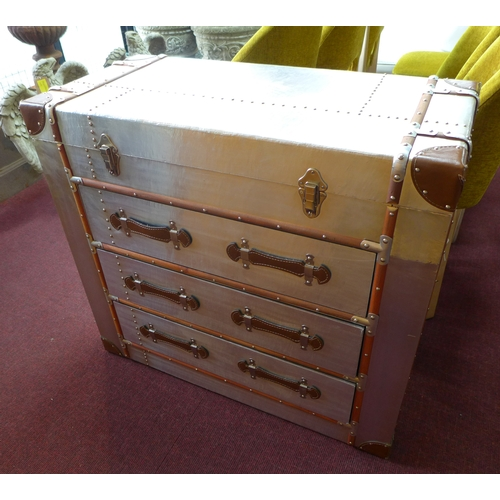 351 - An Aviator style chest of three long drawers, H.81 W.88 D.42cm...