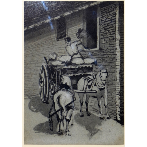 107 - An early 19th century ink wash drawing of a man loading a cart, 25 x 18cm...
