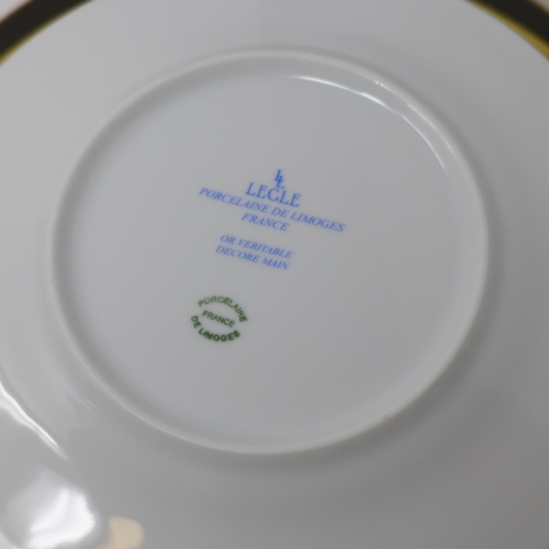 36 - Legle Limgoes, bronze and gold rimmed porcelain collection: 2 large plates, 2 medium plates, 2 soup ...