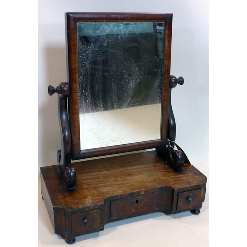 175 - An early 19th century mahogany vanity mirror with three drawers, H.58 W.45 D.24cm...