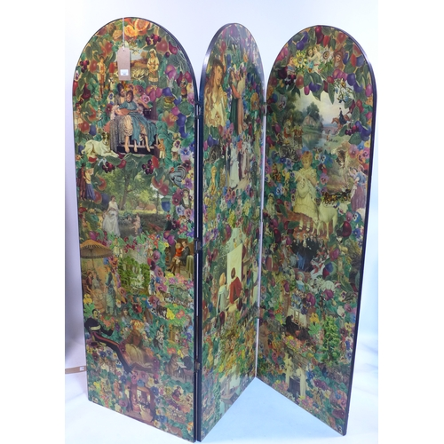 343 - A Victorian style decoupage 3 fold dressing screen, 171 x 180cm...