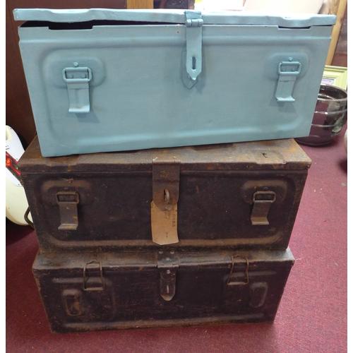 236 - Three WWII metal ammo trunks...
