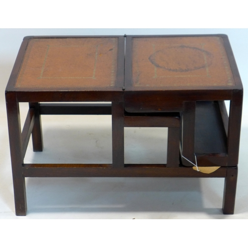 126 - A Georgian style mahogany and tooled leather library steps/table...