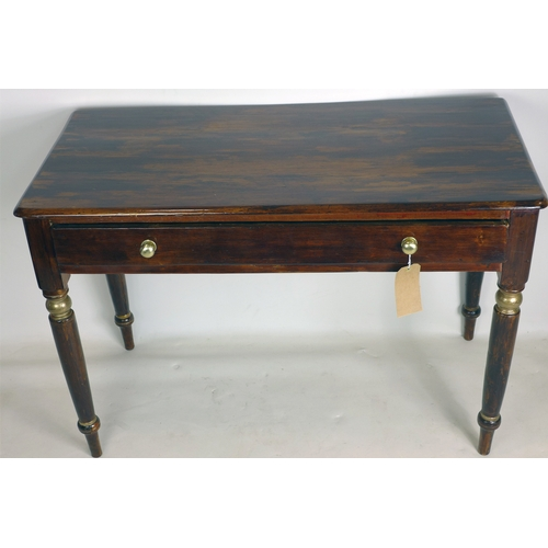 231 - A 20th century stained pine side table, parcel gilt, with single drawer raised on turned legs, H.75 ...