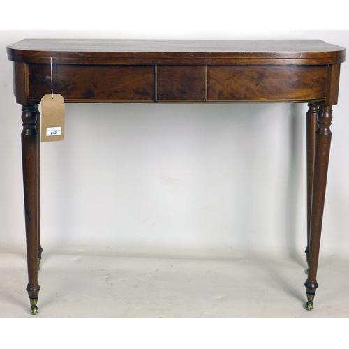 242 - A 19th century mahogany fold over tea table, H.72 W.91 D.45cm...