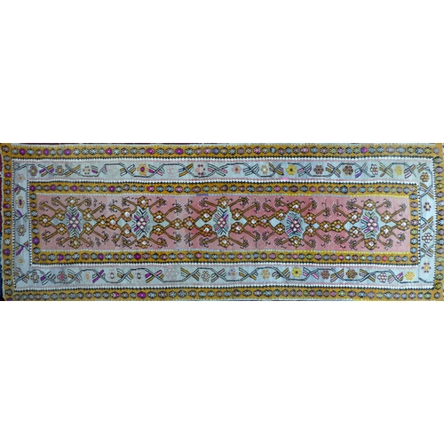 61 - An antique Qashqai Kelim runner, with five geometric medallions contained by geometric border, 337 x...