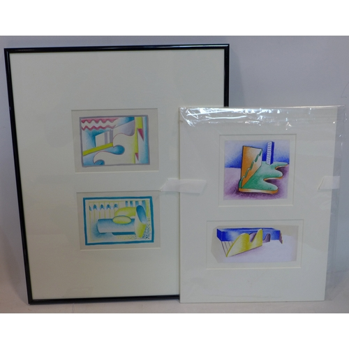 68 - Gwendolen K. Young, two original mid-1930's Art Deco gouache studies on paper (1 framed and 1 sealed...