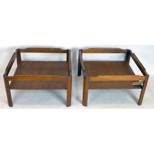 251 - A pair of 20th century teak tables, lacking glass tops, H.36 W.62 D.62cm...