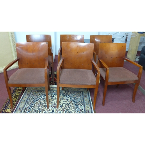 275 - A set of six Bernhardt Design Interiors mid century retro dining chairs all with arm rests 85.5 x 57...