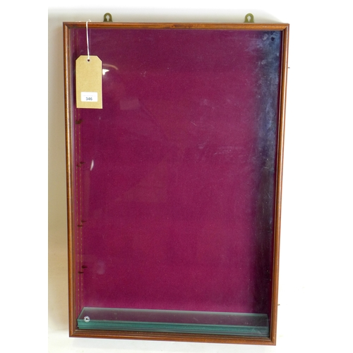346 - A 20th century mahogany wall hanging display case, H.76 W.51 D.13cm...