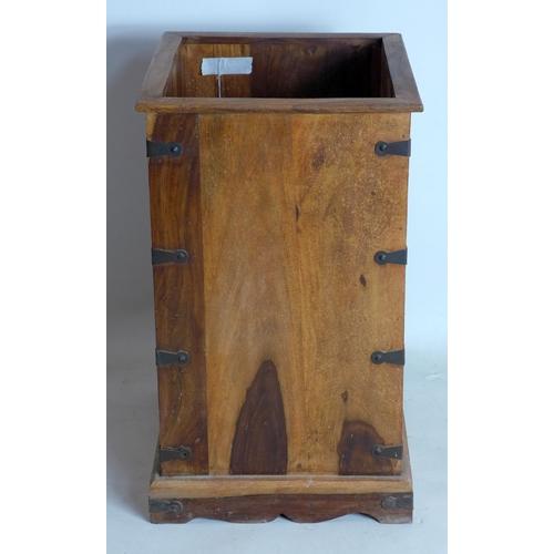 352 - An iron bound teak stick stand, H.62 W.36 D.36cm...