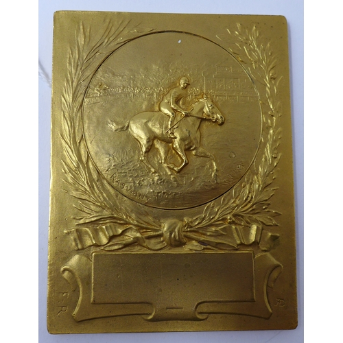 37 - Felix Rasumny, gilt bronze horse plaque, signed, not engraved, 8 x 6.5cm...