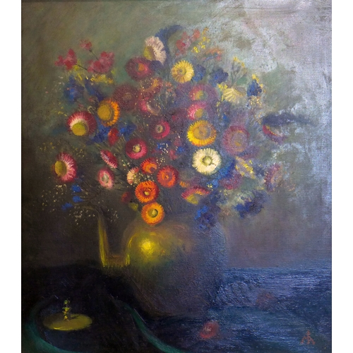 111 - Late 19th / early 20th century school, Still life of flowers in a vase, oil on canvas, monogrammed l...