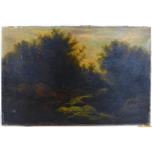 121 - A 19th century oil on canvas of a flowing stream, signed HD and dated 1853 to reverse, 35.5 x 53cm...