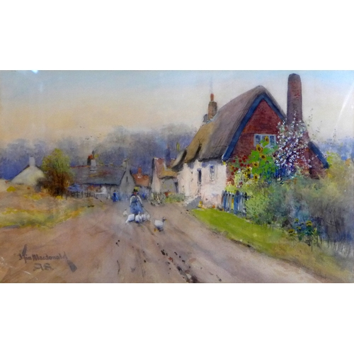 135 - J. Tim MacDonald (fl. 1889-1923), Girl walking with ducks down a village road, watercolour, signed a...