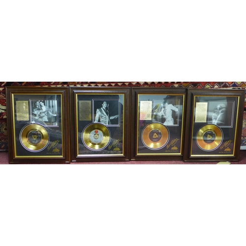 19 - Four framed Elvis Presley records, from the 24 carat gold plated Graceland Collection, to include 'I...