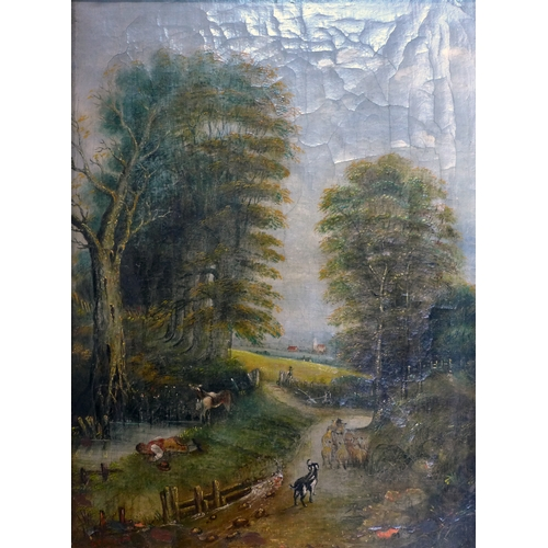 207 - An oil on canvas of animals on a woodland path, signed G T Brown, 55 x 41cm...