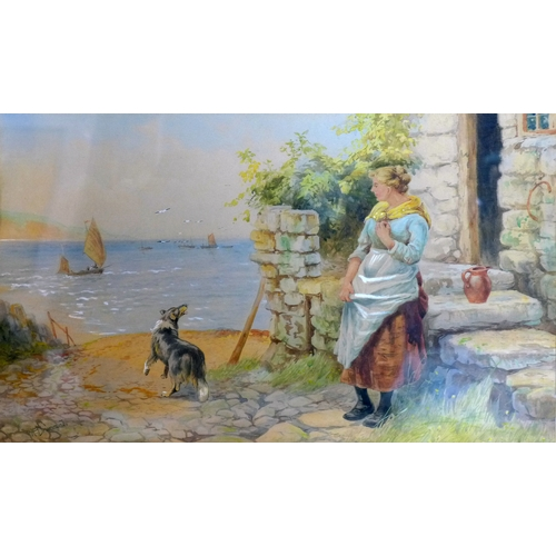 325 - H. Drummond (19th century British school), A lady and a dog by a cottage with sea to background, wat...