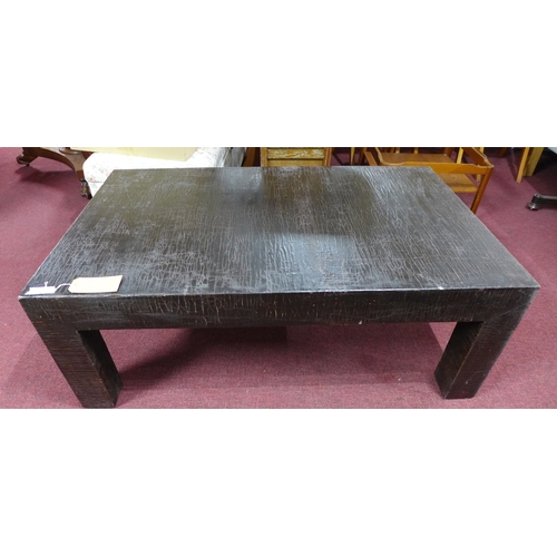 335 - A large Chinese crackle glazed black lacquered coffee table, with wax seal mark to base, H.48 W.130 ...
