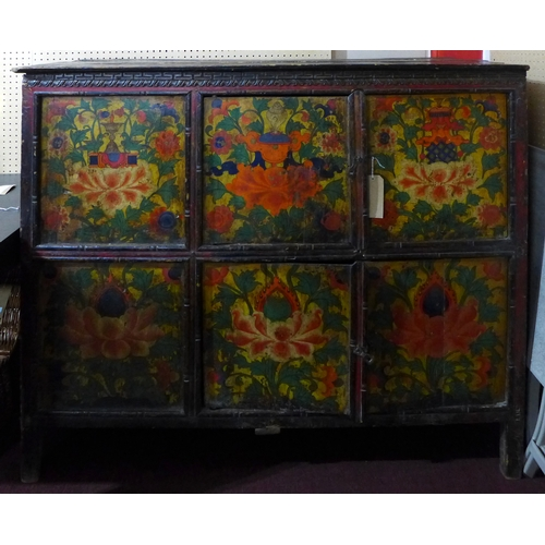 347 - An early 20th century Chinese hardwood cabinet, with floral painted panels and wax seal mark, H.123 ...