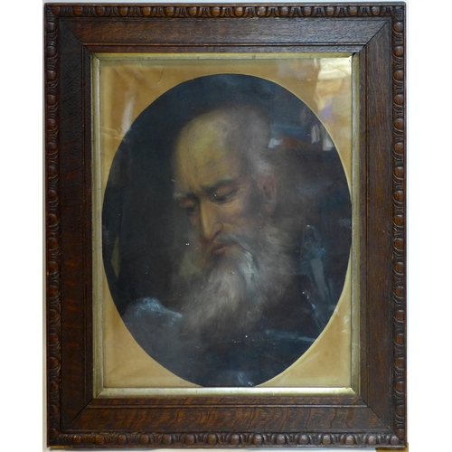 35 - 19th century pastel portrait of an elderly man, feigned to oval, in oak frame, 47 x 40cm...