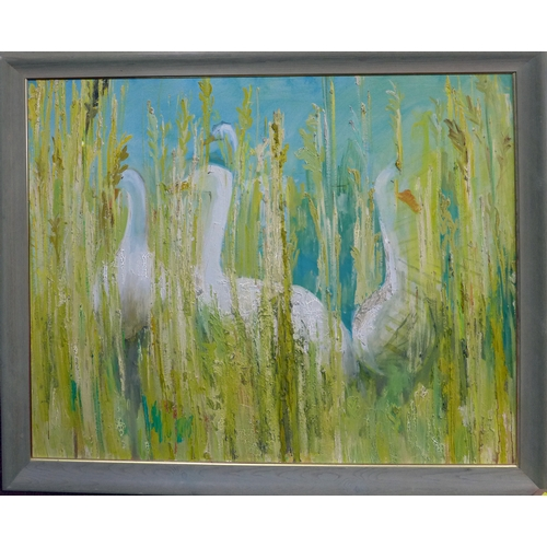 12 - 20th century school, Geese among reads in a pond, oil on board, framed, 99 x 125cm...