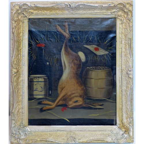 31 - Early 20th century school, a dead rabbit hanging in a parlour, oil on canvas, 59 x 49cm...