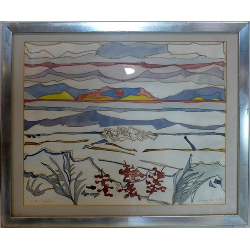 32 - Kirsten Nielsen (20th century school), Landscape scene, pen and ink, signed lower left and dated 85 ...