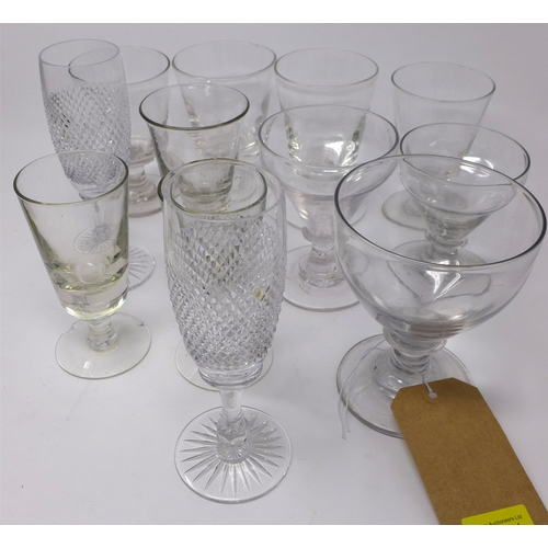 24 - A collection of Georgian drinking glasses and rummers, together with modern cut glass champagne flut...