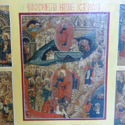 3 - A large Russian icon of the Descent to Hell, the Resurrection to Heaven and the Feasts, tempera on w...